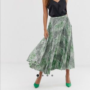 ASOS Satin Pleated Snake Print Midi Skirt